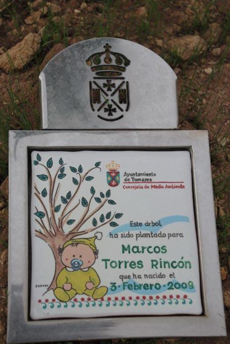 Placa conmemorativa 'un niño un árbol'