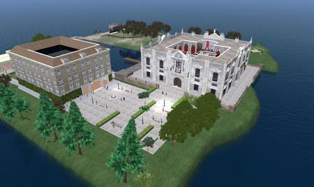 Este es el aspecto que presenta la recreación del Rectorado de la US en Second Life