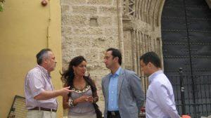 Rodríguez de Celis en una visita a las obras en San Isidoro/SA