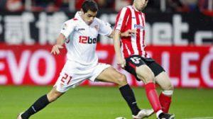 El jugador argentino frente al Athletic de Bilbao en Nervión/SevillaFC