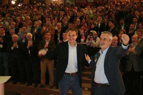 Aunque Griñán se refirió a la deuda histórica, Rodríguez Zapatero hizo oidos sordos