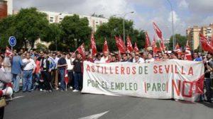 Los empleados de los Astilleros de Sevilla han protagonizado movilizaciones en los últimos meses