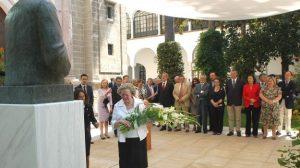 Ángeles Infante, hija de Blas Infante, durante la ofrenda floral al Padre de la Patria Andaluza/SA