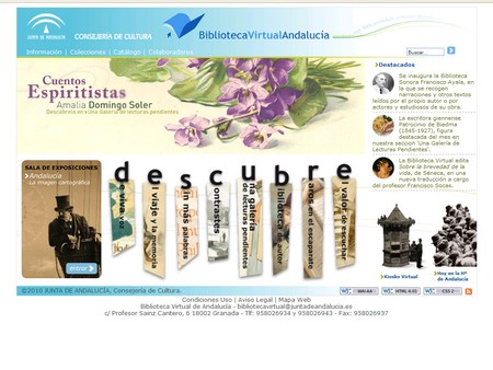 Captura de pantalla de la nueva web de la Biblioteca Virtual de Andalucía./SA