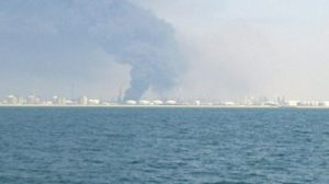 Imagen de la columna de humo desde el mar, enfrente de Punta Umbría/Francisco Cordero Pereira