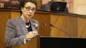 Carmen Martínez Aguayo, consejera de Hacienda y Administración Pública, en el Pleno del Parlamento andalu