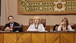 La presidenta del Parlamento de Andalucía, Fuensanta Coves, lee en el Pleno la declaración institucional sobre lo ocurrido en El Aaiún. /SA
