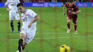 Momento en el que Alfaro ponía el empate en el marcador/SevillaFC