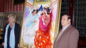 El cartel de Juan Valdés refleja a dos flamencas bailando sevillanas dentro de una caseta