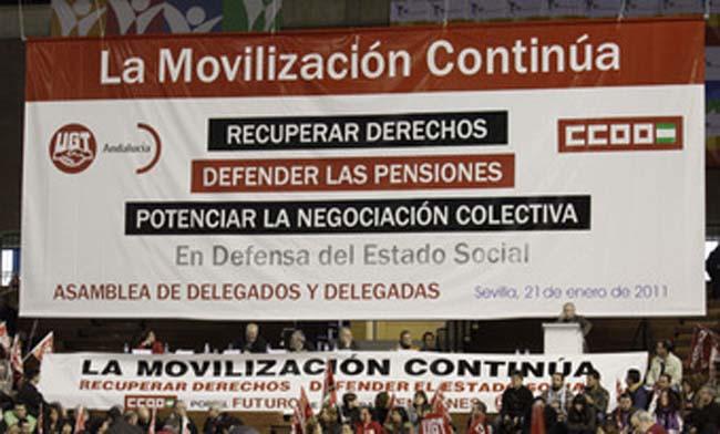 El lema de la concentración acompaña las manifestaciones de los sindicalistas realizadas en las últimas semanas