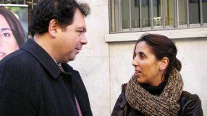 El ex secretario general andalucista, Julián Álvarez, con la candidata del PA, Lola Aquino