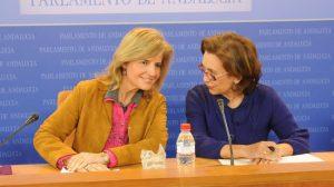 Esperanza Oña y Mª Carmen Rodríguez Hornillo, hoy en el Parlamento de Andalucía/SA