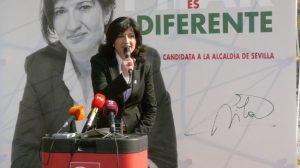 Pilar González en la Plaza Nueva la pasada semana, durante la presentación de su eslógan de precampaña/PA