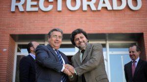 Zoido y Jiménez esta mañana en la UPO/PP