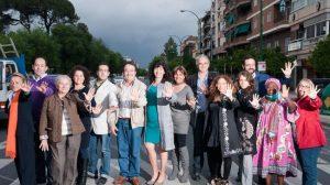 Miembros de la candidatura andalucista en un paso de peatones de Menéndez y Pelayo