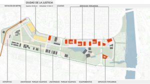 Plano de la prevista Ciudad de la Justicia que se construirá en Los Gordales