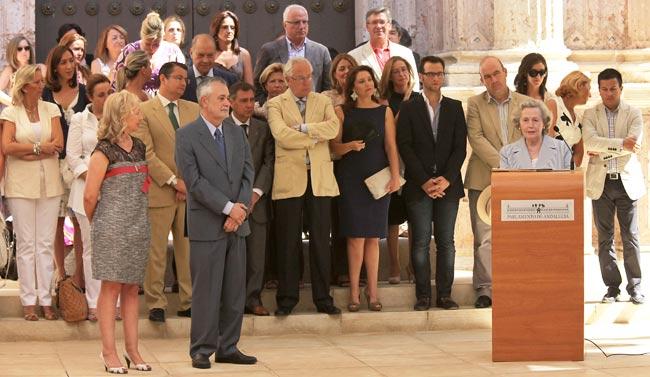 Coves, Griñán e Infante esta mañana en el Parlamento de Andalucía
