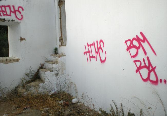 Pintadas y basura en el monilo de Realaje, en pleno río Guadaíra