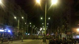 Un instante de la movilización, que ha provocado el corte del paso subterráneo de Arjona, en Sevilla
