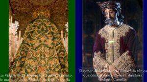 Manto y túnica que vestirán la Esperanza y Jesús de la Sentencia la próxima Madrugá/Hdad de la Macarena