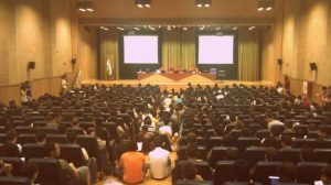 La Escuela Técnica Superior de Informática durante la Asamblea celebrada ayer / Twitter