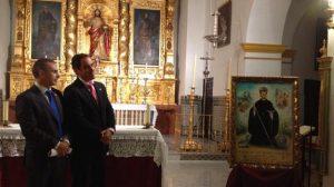 El cartel anunciador presenta la imagen de San Benito en primer término y dos pasajes de la 'venida' en los costados izquierdo y derecho / Hdad. de San Benito