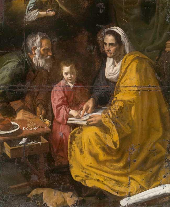 La educación de la virgen de Velázquez, antes de su restauración tras su hallazgo en un sótano de la Universidad estadounidense de Yale