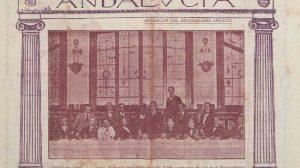 Número de la Revista Andalucía, editada por el Centro Andaluz, con imagen de alguno de sus miembros en portada, en 1916