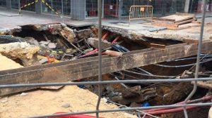 Hundimientos en las obras de la calle Niebla, en Triana /PP