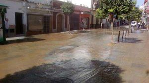 Calle Charco inundada en Los Palacios /Juan Manuel Valle Chacón