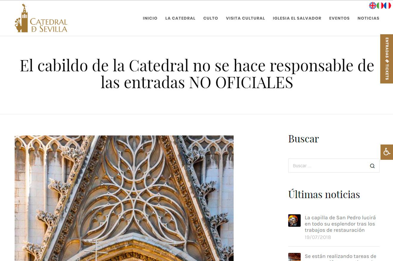 La Catedral denuncia la venta de entradas no oficiales /Catedral de Sevilla