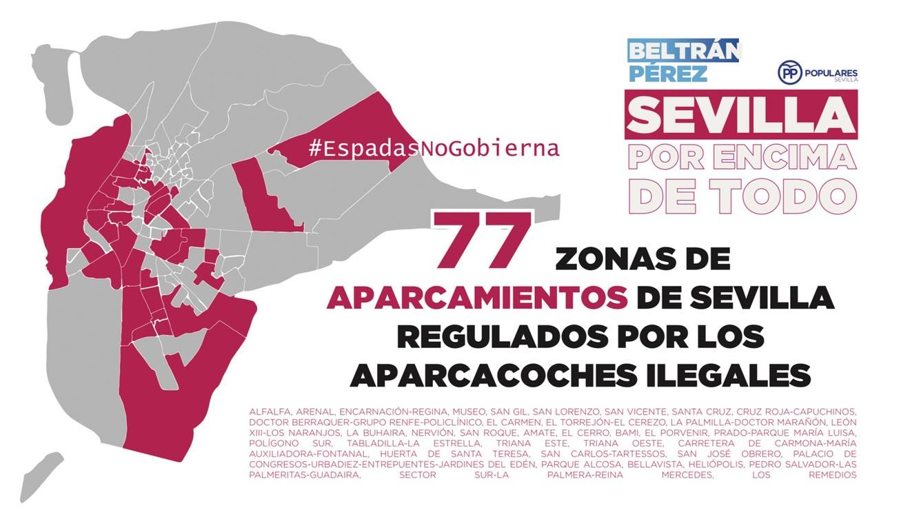 Mapa con todas las zonas de aparcacoches ilegales de Sevilla, según el PP /PP