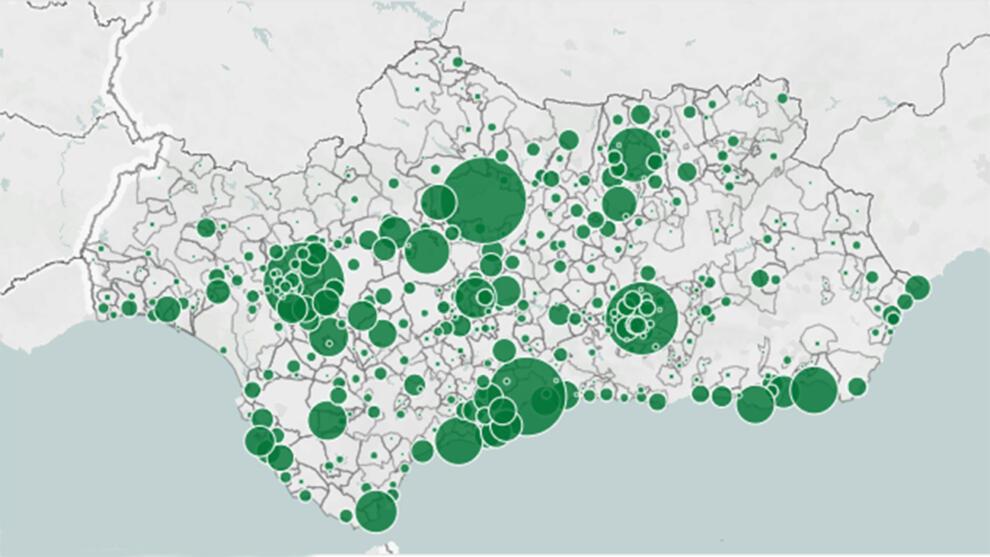 Mapa de contagios en Andalucía por municipios